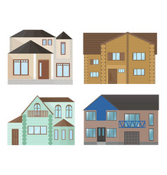 buildings houses facade architecture modern flat vector image vector image