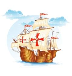 Cartoon image of a sailing ship of Spain XV vector image