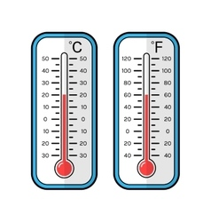 Colored flat icons of thermometers for weather vector image