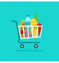 Grocery shopping cart with full of fresh products vector image vector image