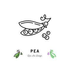 pea icon vegetables logo peas in a pod vector image vector image
