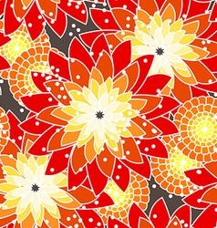 Seamless flower pattern in orange tones vector image