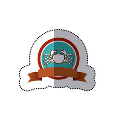 sticker old background circular border with crab vector image vector image