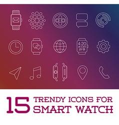 15 Fresh Smart Watch Trendy Icons vector