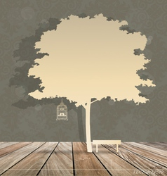 Abstract background with birdcage under under tree vector image