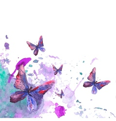 Abstract watercolor background with butterflies vector image