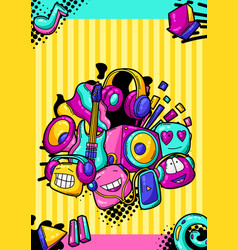 background with cartoon musical items vector image