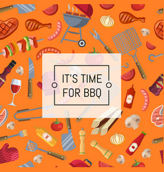 barbecue or grill background with place for text vector image