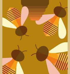 Bees with honey comb cartoon background design vector