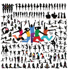 big set people silhouettes vector image