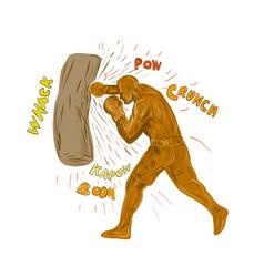 boxer hitting punching bag drawing vector image