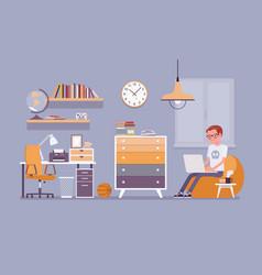 boy room interior design vector image