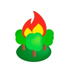 Burning forest trees isometric 3d icon vector