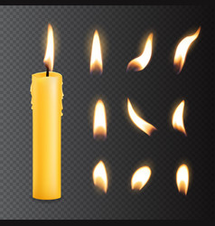 candle with fire flame lights realistic set vector image