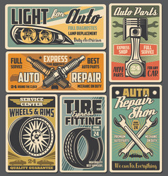 car spare parts auto tire piston and spark plugs vector image