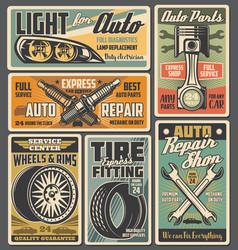 Car spare parts auto tire piston and spark plugs vector