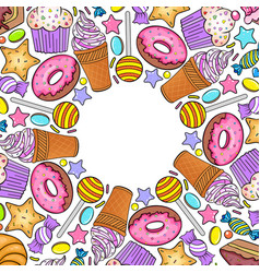 Card with various sweets vector