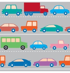 cars on road pattern vector image