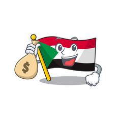 Cheerful holding money bag cartoon flag sudan with vector