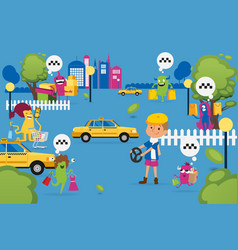 Christmas monsters shopping and looking for taxi vector