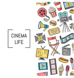 cinema icons background vector image