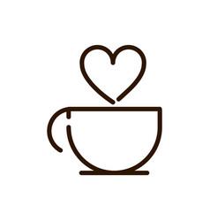 coffee cup love drink traditonal line design vector image