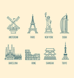 collection of of national landmarks symbol of vector image