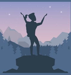 color night landscape silhouette of climber woman vector image