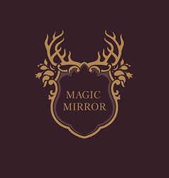 creative emblem of the magic mirrorantler vector image