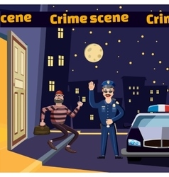 Criminal scene catch thief concept cartoon style vector image