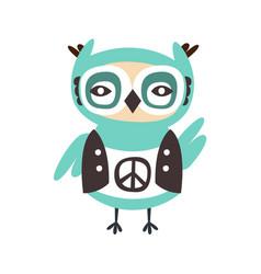 Cute cartoon owl bird with peace sign on its cloth vector