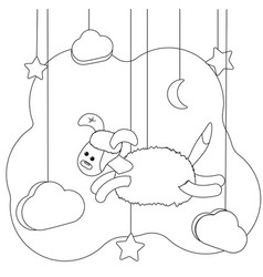Cute flying dog coloring page for kids puppy vector