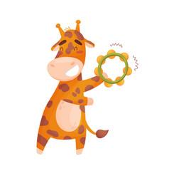 Cute giraffe with a tambourine vector