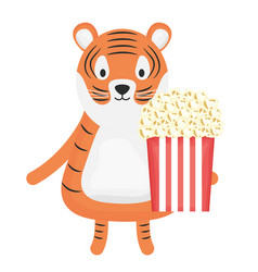 Cute tiger with pop corn childish character vector