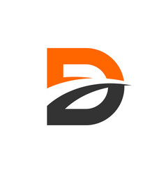 d letter and swoosh logo template vector image