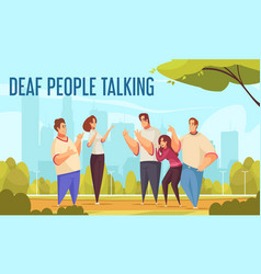 Deaf people talking background vector