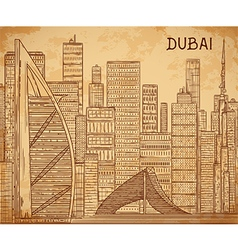 Dubai cityscape on aged paper background vector