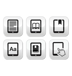 E-book reader e-reader buttons set vector