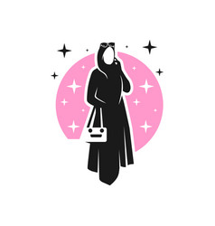 Female hijab fashion logo design vector