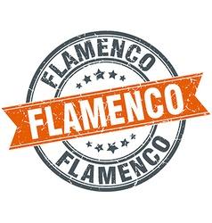 Flamenco round orange grungy vintage isolated vector