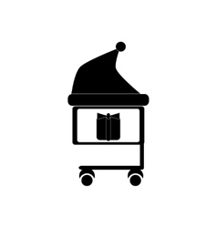 flat icon in black and white style gift cart vector image