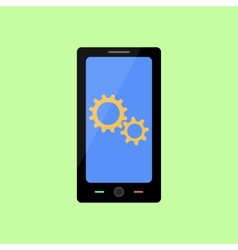Flat style smart phone with gear wheels vector