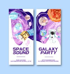 Galaxy flyer design with satellite astronaut vector