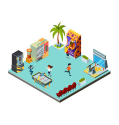 Game zone concept center kids room vector