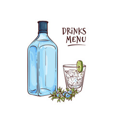 Gin and tonic cocktail in vector