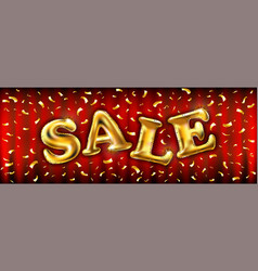 Gold sale balloons for store banners advertising vector