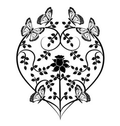 Graphic element heart with butterflies vector