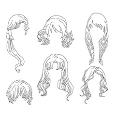 Hair styling for woman drawing Set 4 vector