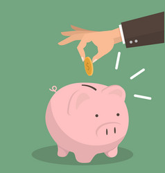 hand business putting coin a piggy bank savings vector image