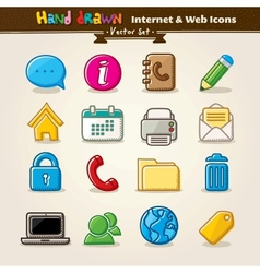 Hand Draw Internet And Web Icon Set vector image